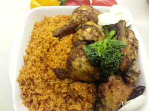 Jollof Rice and Jerk Chicken
