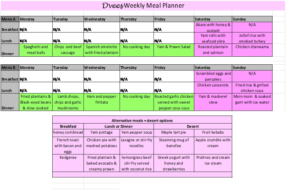 DVees Weekly Meal Planner – DVees Food Chronicles