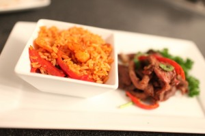 Dvees Jollof Rice & Stir Fried Beef with peppers